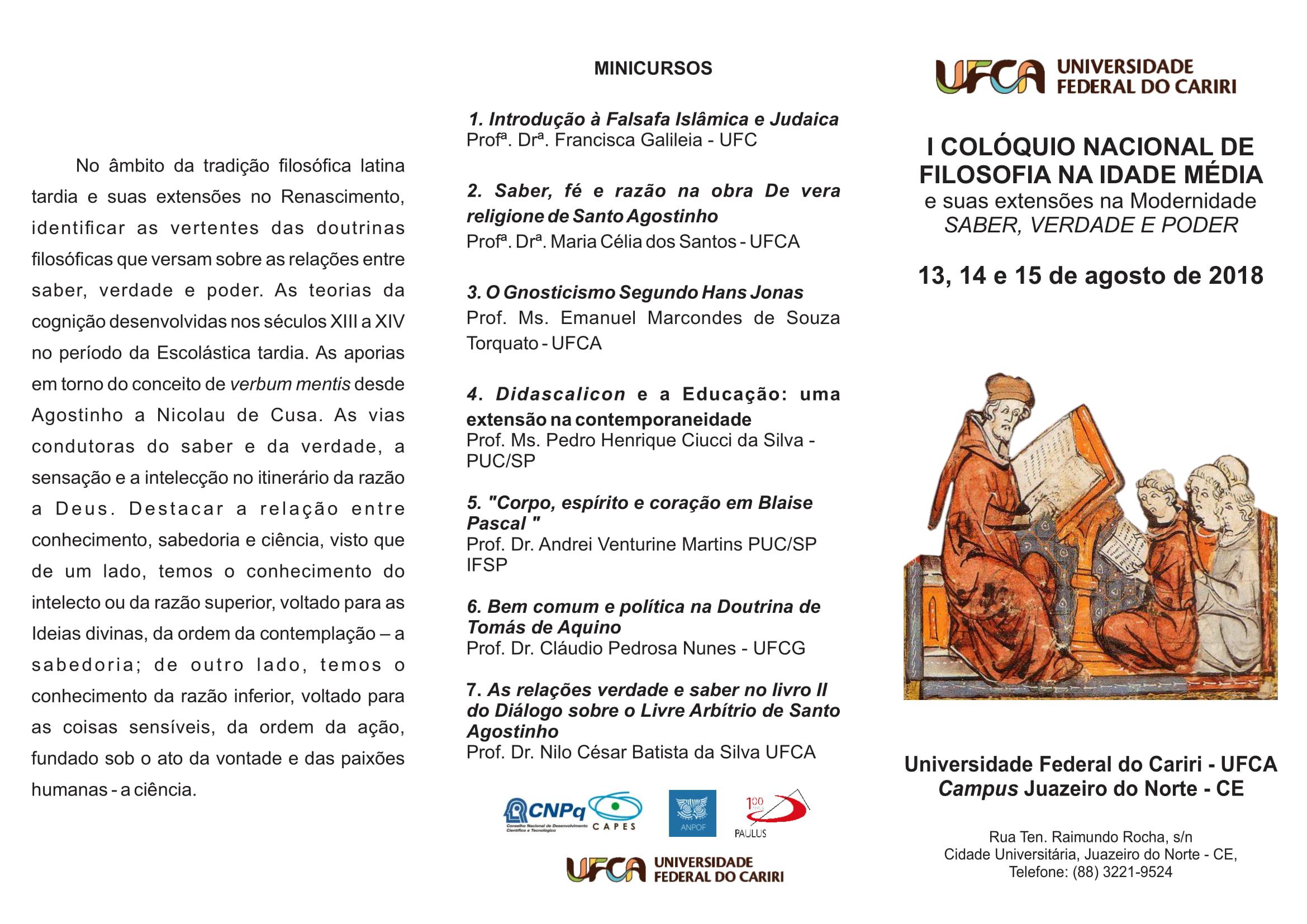 Folder 1º Colóquio Nacional de Filosofia - UFCA-1