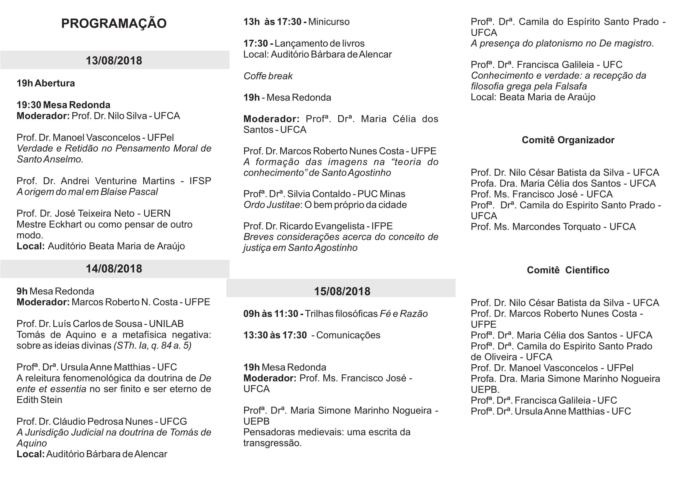 Folder 1º Colóquio Nacional de Filosofia - UFCA-2